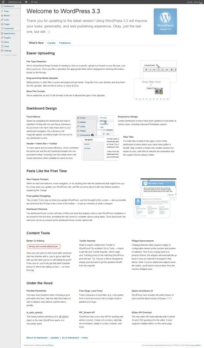 dashboard wordpress 3.3, dashboard wordpress welcome 3.3
