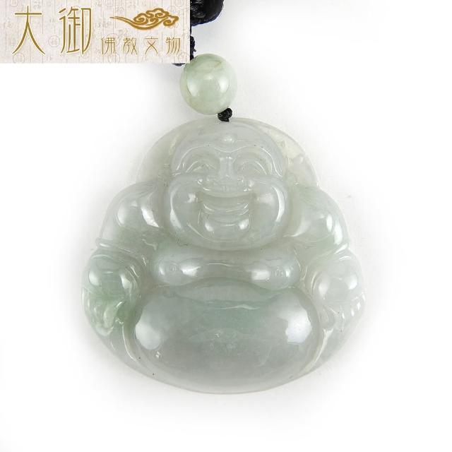 【大御佛教文物】招財彌勒冰種翡翠項鍊(2508)
