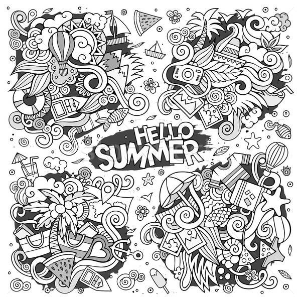 Line Art Vector Set Of Summer Doodle Designs Vector Illustration C Olga Kostenko Balabolka 8219895 Stockfresh