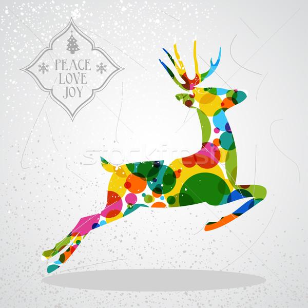 Merry Christmas Colorful Reindeer Shape Vector