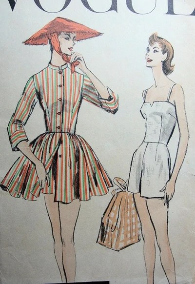 1950s bathing suit and cover-up pattern - Vogue 8883