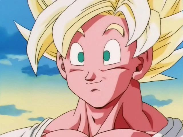 goku relaxed as a full power super saiyan his yellowish white hair