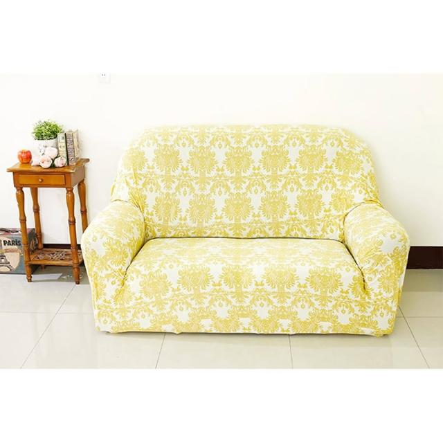 【Osun】一體成型防蹣彈性沙發套、沙發罩(米色緹花款2人座CE-173)