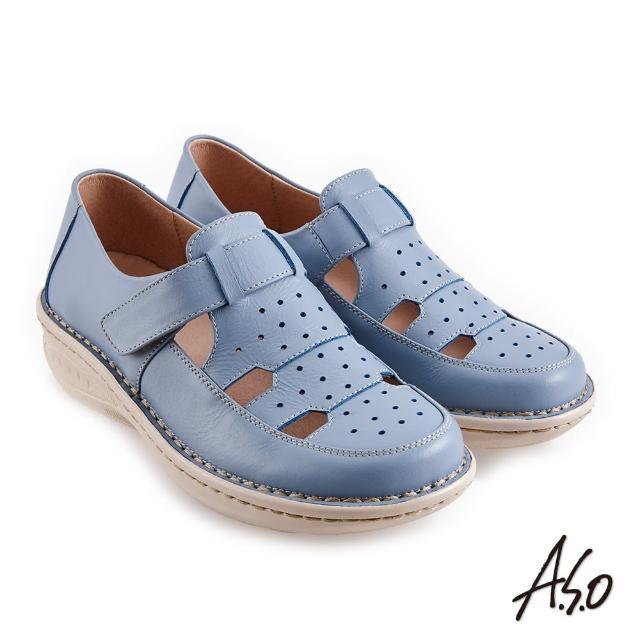 【A.S.O 阿瘦集團】機能休閒 輕量樂活簡約魔鬼氈休閒鞋(淺藍)