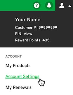click account settings