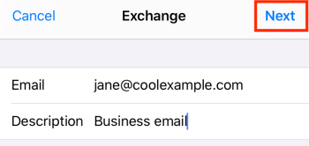 Enter email, company description, and tap Next