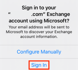 Tap Sign In to sign in to your Exchange account