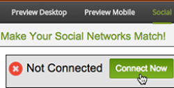 In the Social tab, click Connect Now