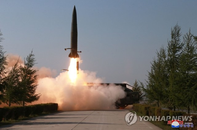 This photo, filed May 9, 2019, shows an image captured from North Korea's state television channel of a short-range missile fired from a launcher on the same day. (For Use Only in the Republic of Korea. No Redistribution) (Yonhap)