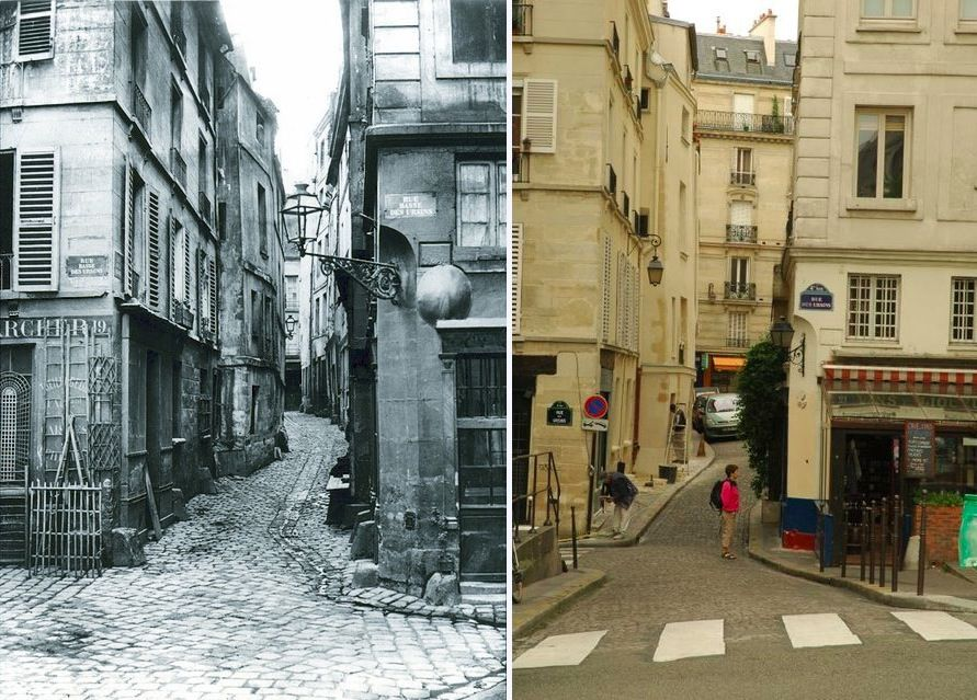 Île de la Cité before and after - Rue de la Colombe, now called Rue des Ursins