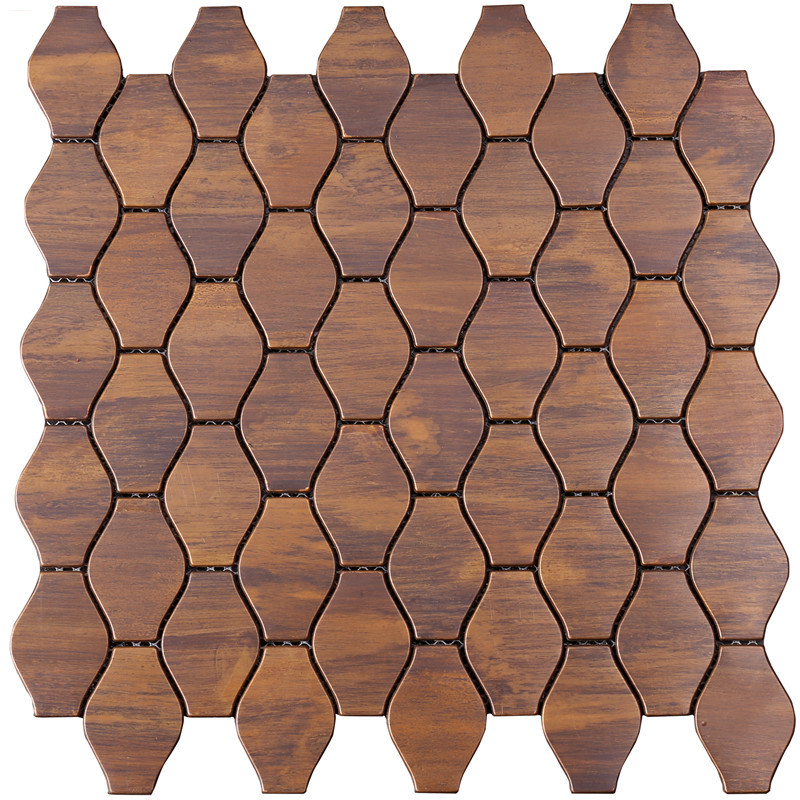 leaf shape bronze mosaic tile for wall