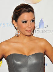 Eva Longoria leggy and cleavage in small tight dress as she is Presented with Distinguished Business Leadership Award at Latin Chamber of Commerce 35th Installation Celebration at Eve Nightclub inside Crystals at CityCenter in Las Vegas - Hot Celebs Home