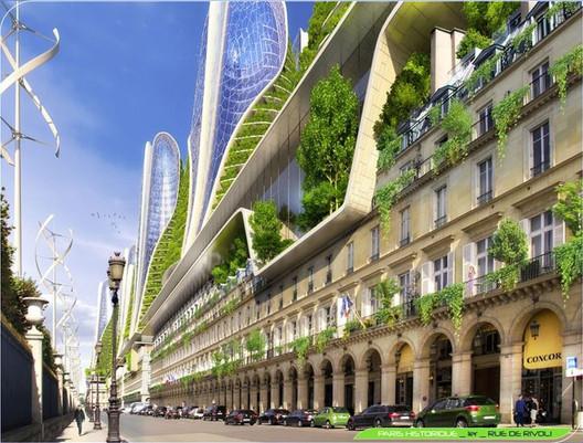 Torres Montaña desde el nivel de calle. Imágen cortesía de Vincent Callebaut Architecture