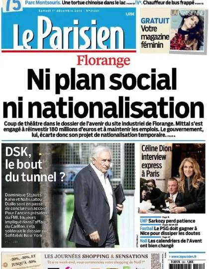 Le Parisien + Cahier Paris Samedi 1er Décembre 2012