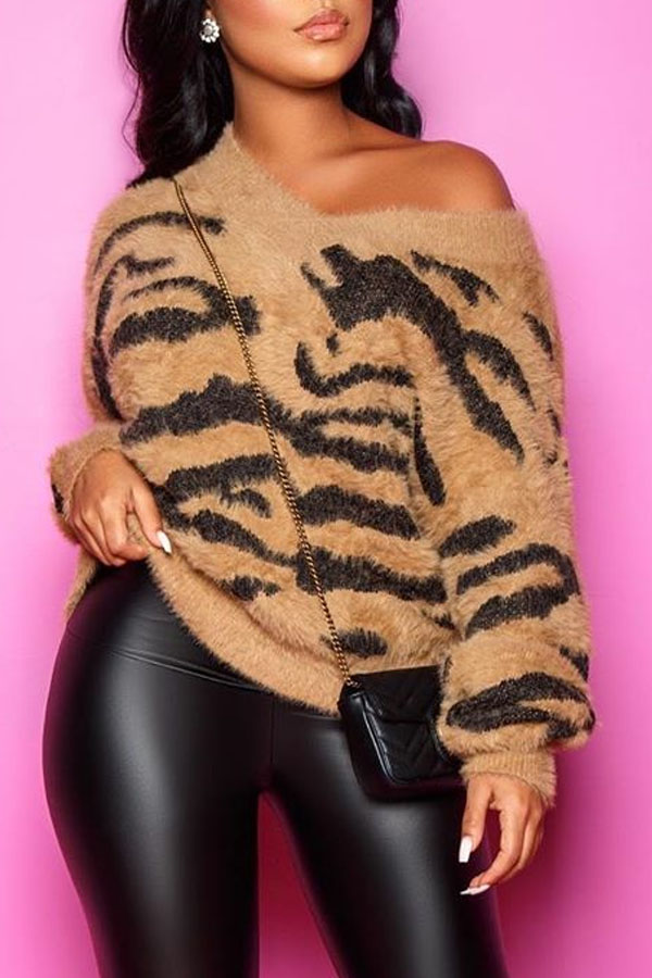 The black Friday sale at Lovely WholeSale - casual v neck striped brown sweater