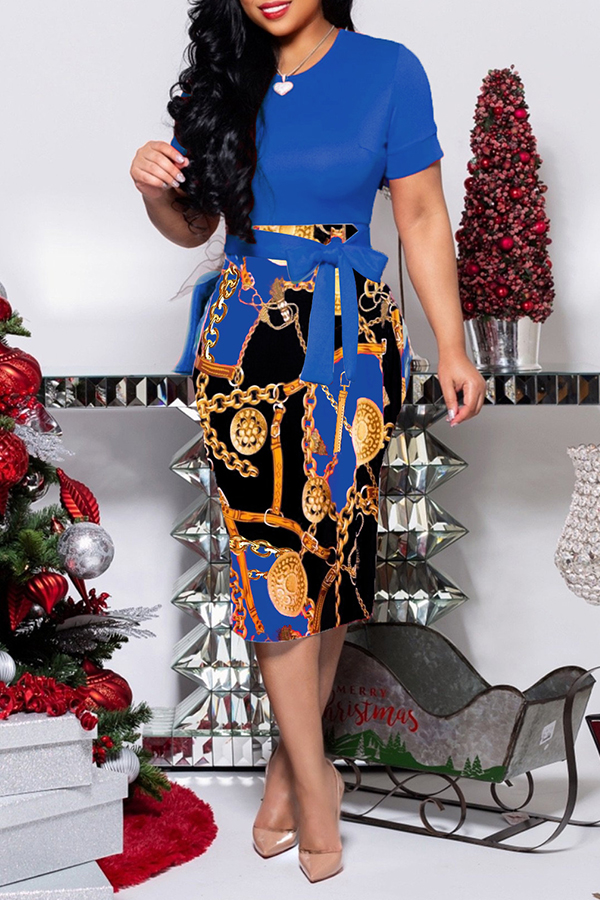 It's A Lovely Wholesale Christmas. Trendy O Neck Blue Print Knee Length Dress