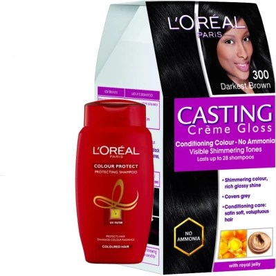 loreal paris casting creme gloss darkest brown 300 offer hair color dark brown hairs