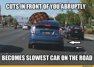 It's both annoying and confusing when drivers cut you off just to slow down.