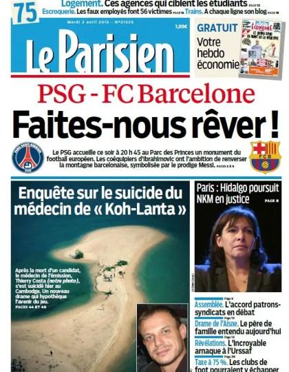 Le Parisien & Cahier Paris Mardi 02 Avril 2013