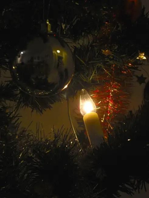 Otin vielä jonkun satunnaisen pimeän kuvan joulukuusesta ennen kuin se sullottiin pahviin.