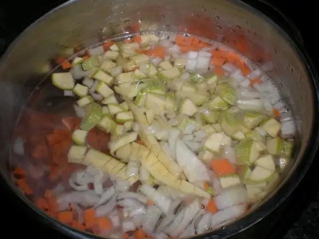 Agua, zanahorias, cebolla y calabacín