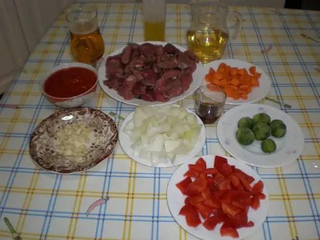 Ingredientes para ternera en salsa
