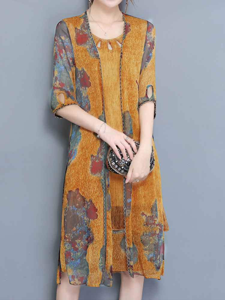 Elegant Two Pieces Set Half Sleeve Print Chiffon Women Dress