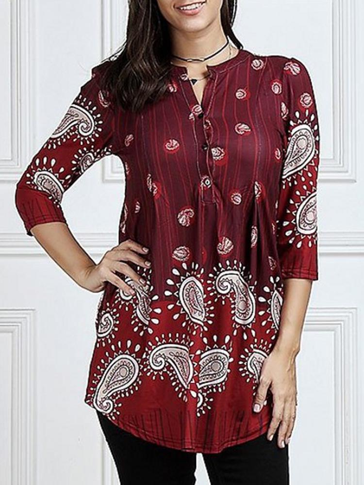 Women 3/4 Sleeve V-neck Irregular Floral Print Blouse