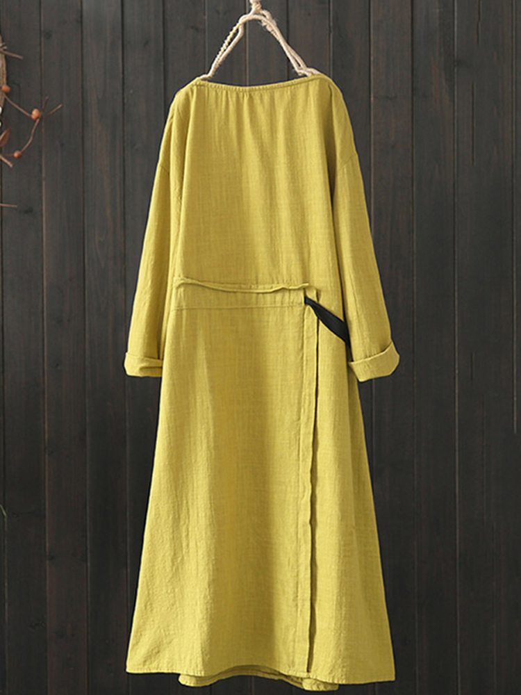 Women Drawstring Waist Crew Neck Long Sleeve Solid Vintage Dress
