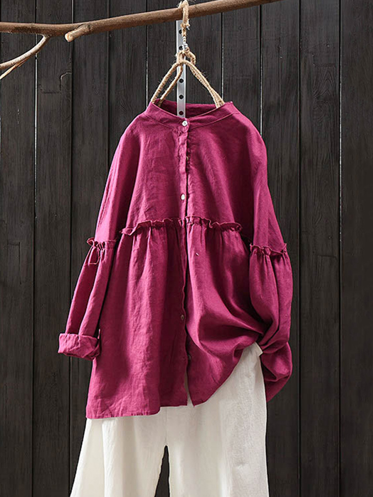 Women Long Sleeve Stand Collar Solid Linen Cotton Vintage Blouse