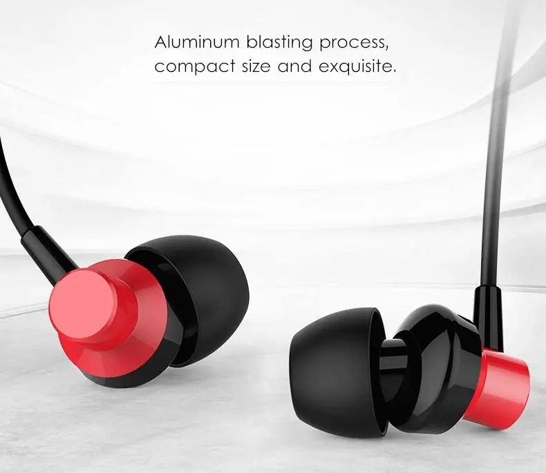 Remax RM-512 3.5mm red Wired Music Earphone Heavy Bass In-ear Headphone