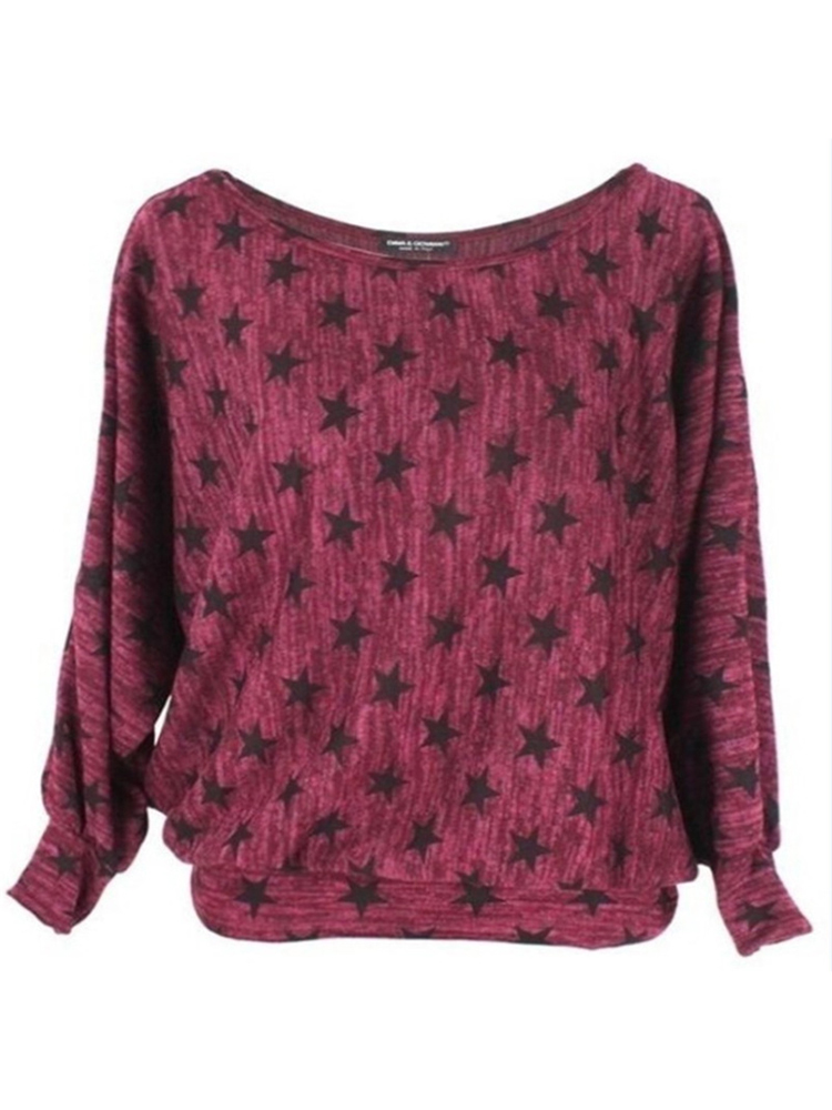 Women Casual Star Print Round Neck Loose Long Sleeve Blouse