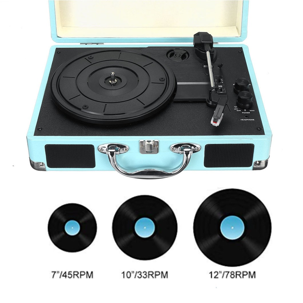B32603 bluetooth Wireless 3 Speed Vinyl Record Player Turntable Retro 2 Speakers Case 19