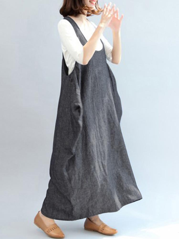 Women Strap Sleeveless Pure Color Casual Loose Maxi Dress