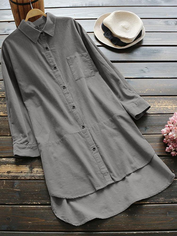 Women  Vintage Long Sleeve Buttons Down Casual Shirt Mini Dress