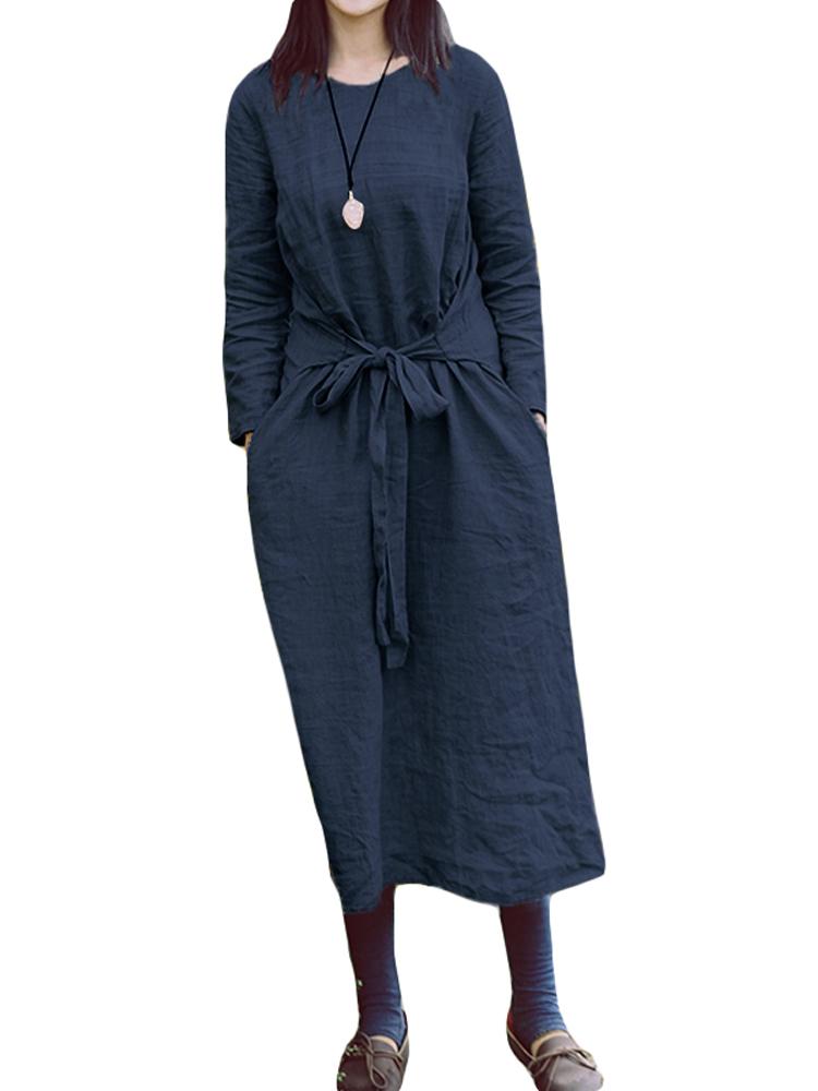 Women Vintage Round Neck Long Sleeve Belt Loose Maxi Dress
