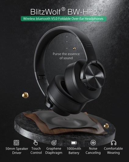 Blitzwolf BW HP2 bluetooth v5.0 fone de ouvido controle de toque sem fio fone de ouvido 50mm driver 1000mah dobrável over ear jogos fone de ouvido|Fones de ouvido| - AliExpress