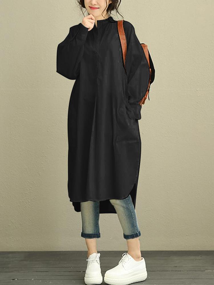 Women Casual Loose Solid Button Long Sleeve Asymmetric Shirt Dress