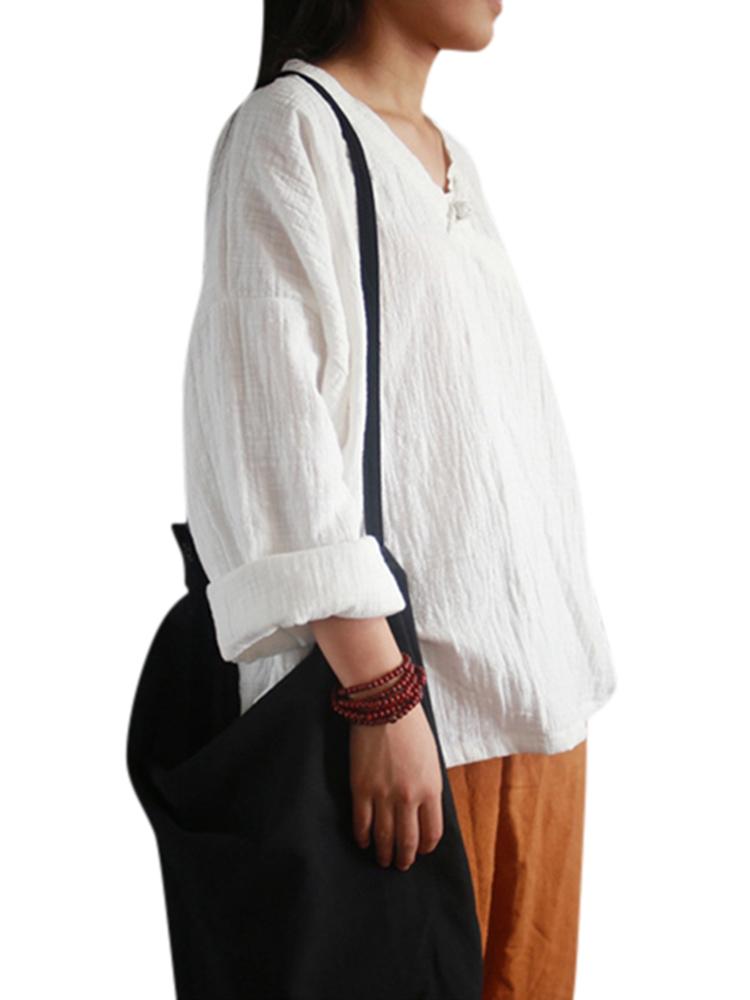 Vintage Women V-Neck Solid Color Long Sleeve Split Hem Blouse