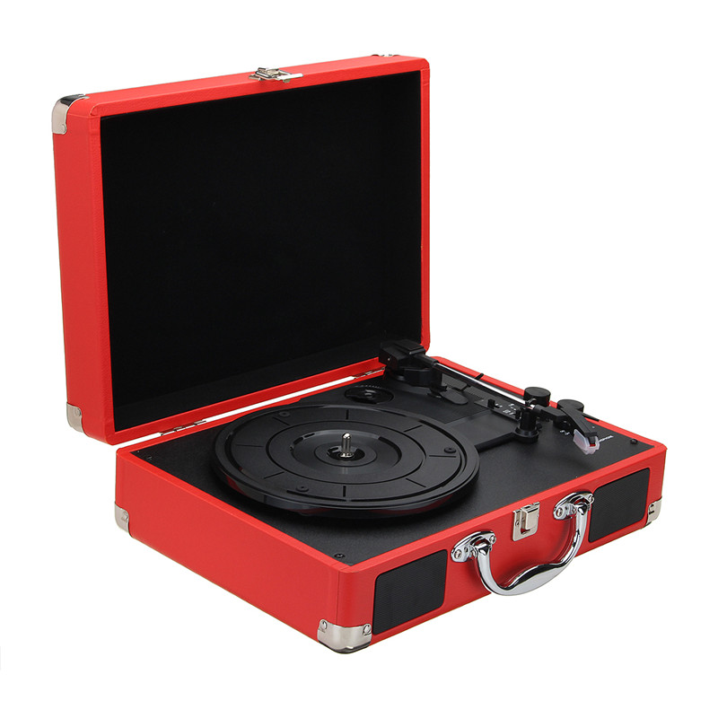 V1 bluetooth Portable Suitcase Record Player 3-Speed Aux-in MP3 Record Player With Speaker 33