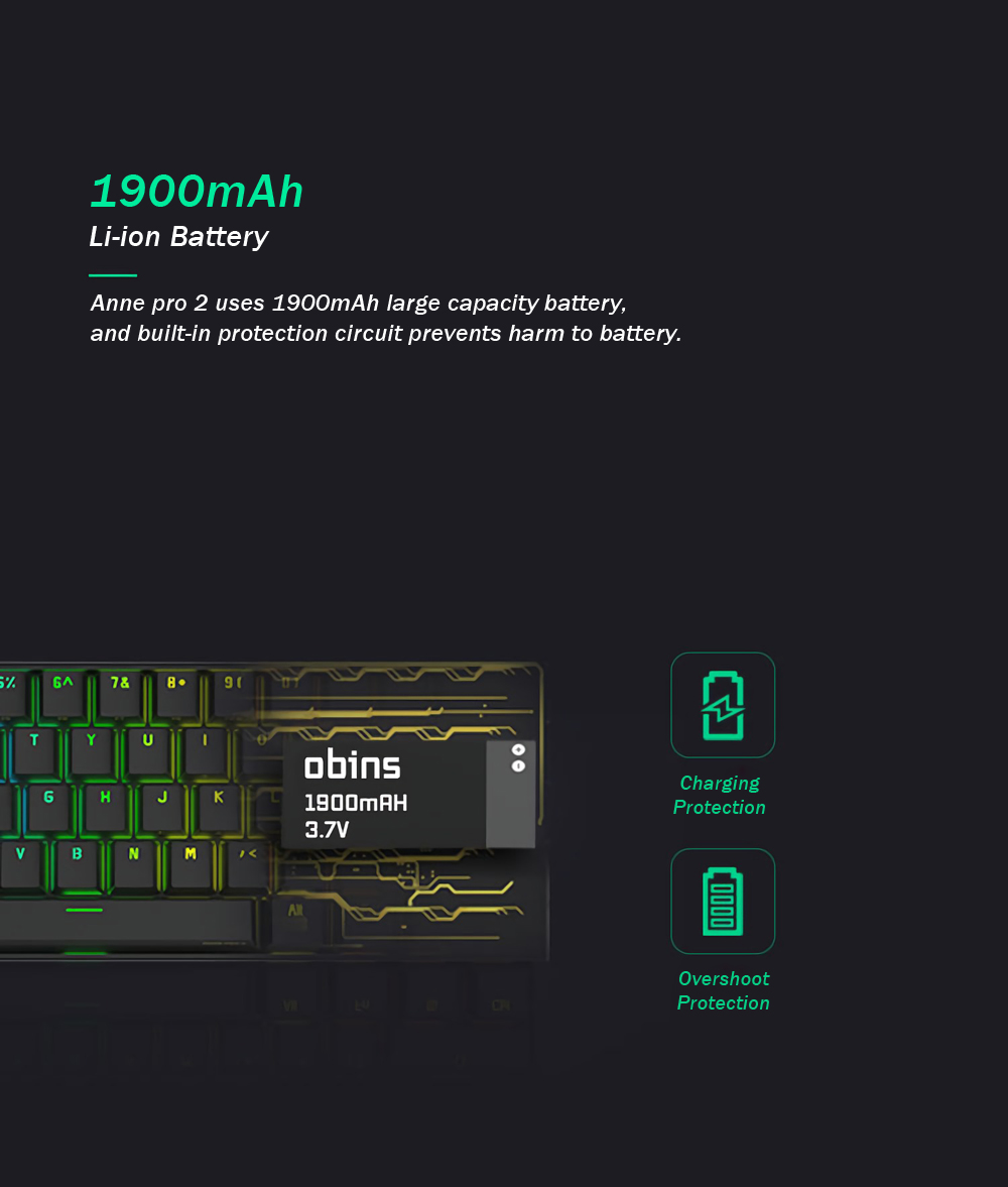 [Kailh BOX Switch]Obins Anne Pro 2 60% NKRO bluetooth 4.0 Type-C RGB Mechanical Gaming Keyboard 15