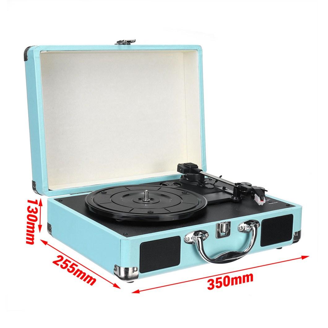 B32603 bluetooth Wireless 3 Speed Vinyl Record Player Turntable Retro 2 Speakers Case 22