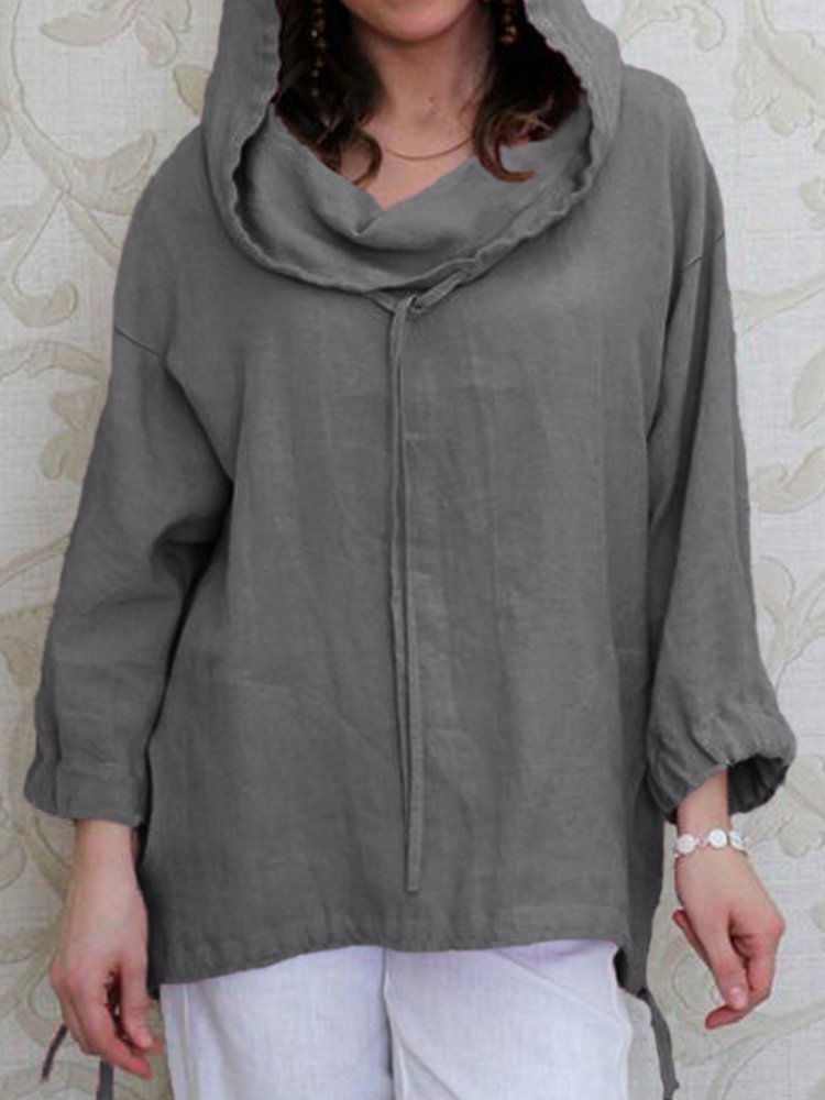 Women Casual Long Sleeve Solid Drawstring Hoodies Blouse