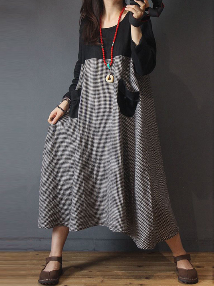 Women Long Sleeve Plaid Patchwork Vintage Casual Midi Shirt Dress