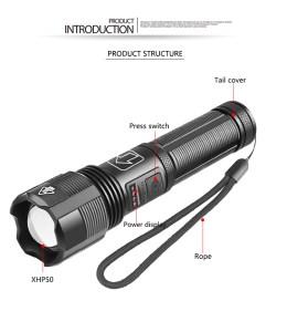 Στα 10€ χτυπάς τακτικαλ φακό με 1800 lumens από αποθήκη Κίνας | XANES® XHP50 1800lm Powerful Long Range Zoomable Flashlight Kit with 18650 Li-ion Battery USB Rechargeable & Power Display Mini Torch Focus Adjustable Tactical Light