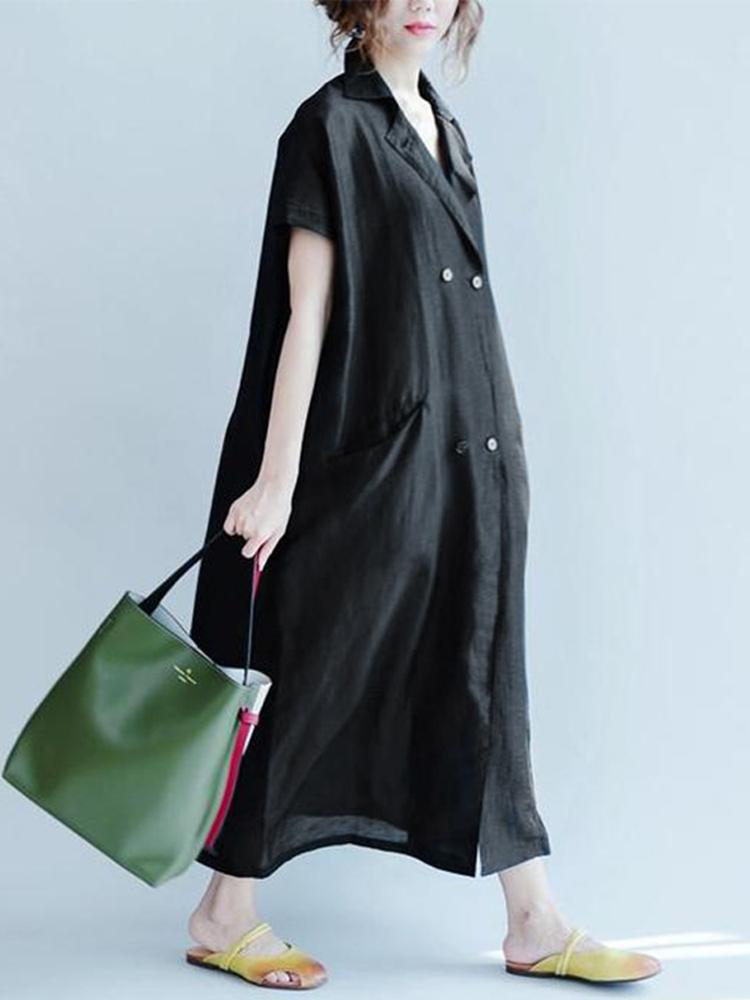 Women Casual Short Sleeve Turn Down Collar Long Shirt Dress