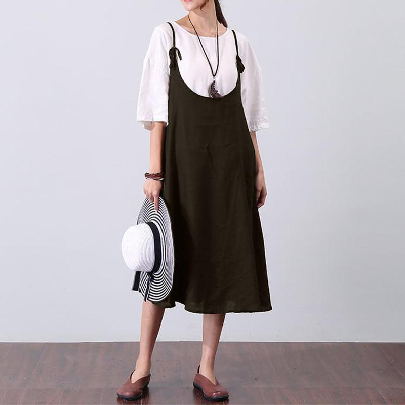 Women Sleeveless Straps Swing Hem Solid A-line Dress