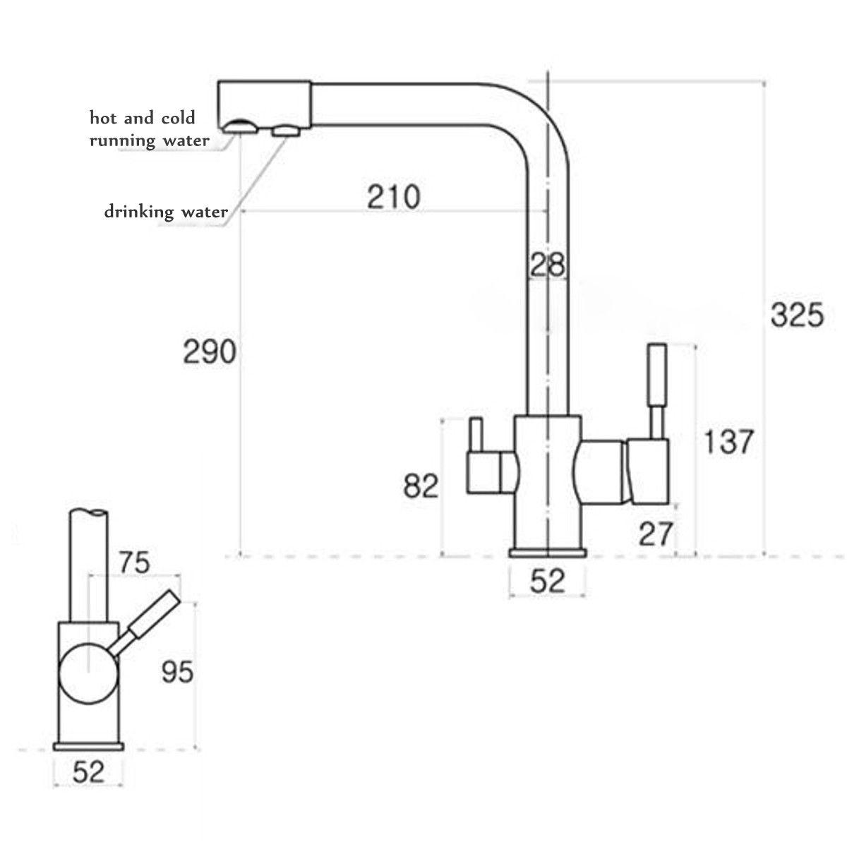 Dual Lever Kitchen 3 Way Water Filter Mixer Tap Sink Flow