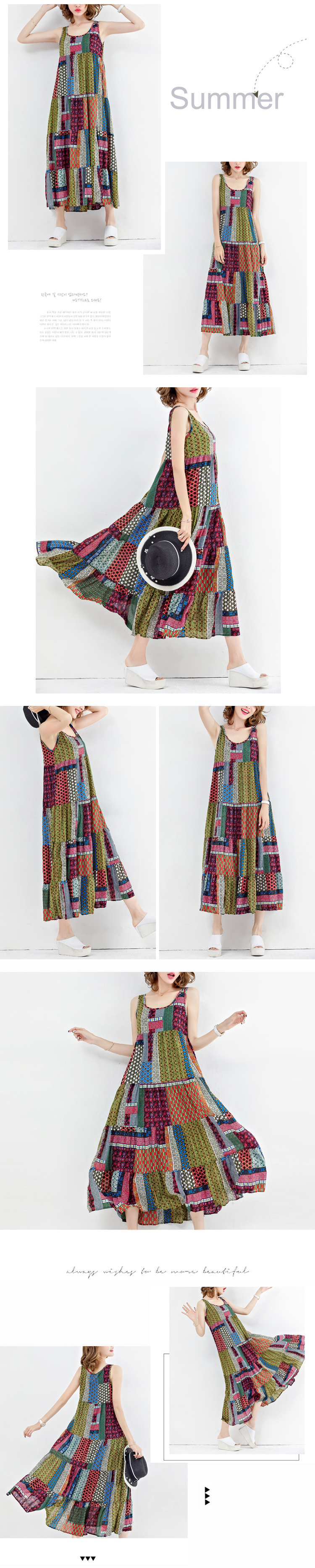 Gracila Bohemian Women Sleeveless Patchwork O-Neck Maxi Tank Dress
