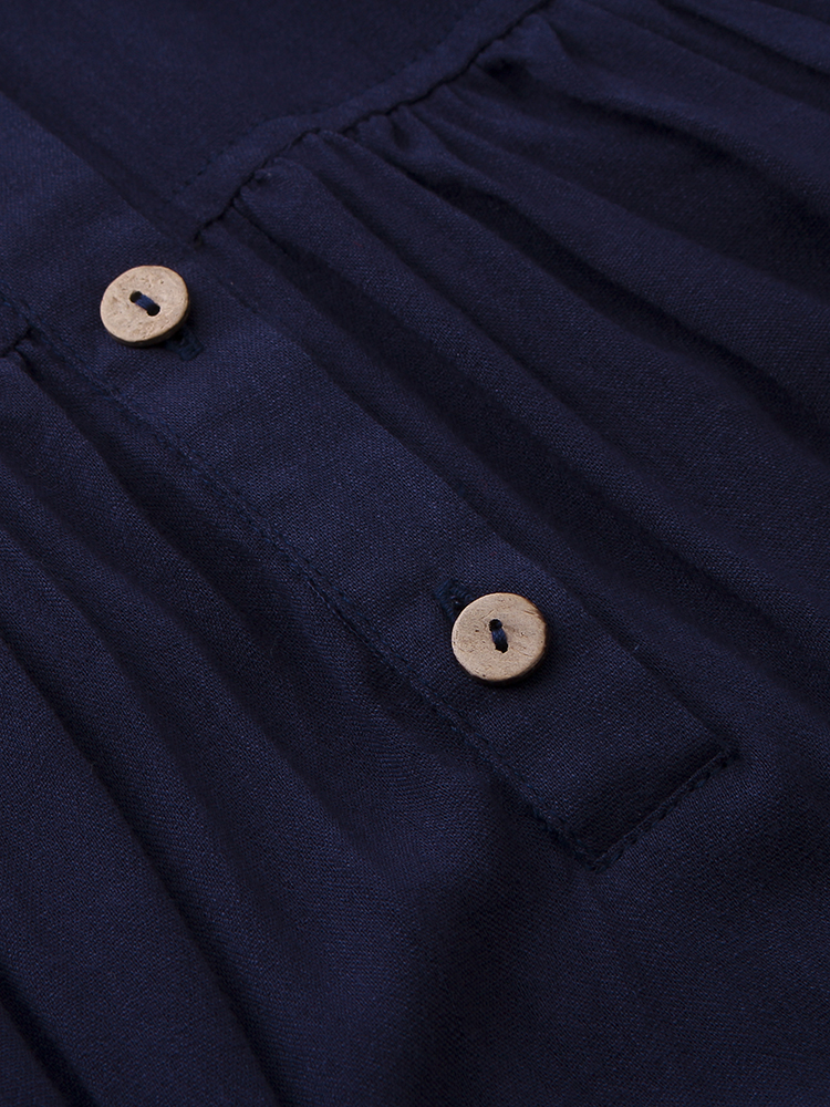 Casual Button Loose Irregular Batwing Sleeve Dress For Women